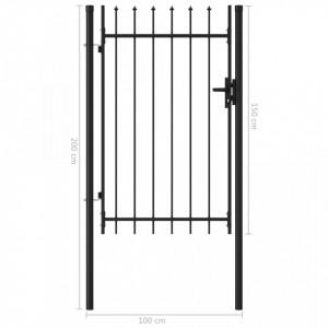 Poartă de gard cu o ușă, vârf ascuțit, negru, 1 x 1,5 m, oțel