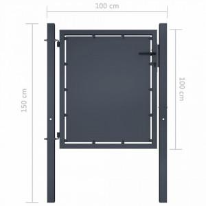 Poartă de grădină, antracit, 100 x 100 cm, oțel