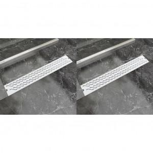 Rigolă de duș liniară 2 buc. 730x140 mm oțel inoxidabil valuri