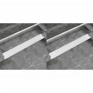 Rigolă liniară de duș 2 buc. 830x140 mm, oțel inoxidabil, bule