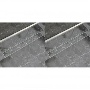 Rigolă liniară duș, 2 buc., 930 x 140 mm, oțel inoxidabil