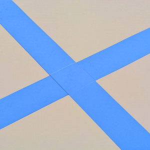 Saltea gimnastică gonflabilă cu pompă albastru 400x100x10cm PVC