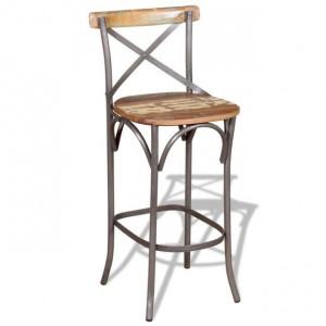 Scaun de bar din lemn masiv reciclat, 45 x 45 x 110 cm