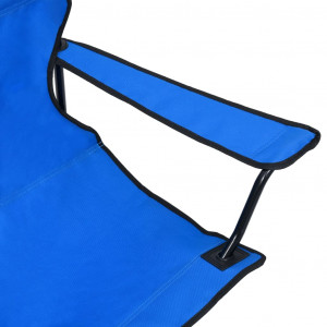 Scaun de camping pliabil cu 2 locuri, albastru, oțel și textil
