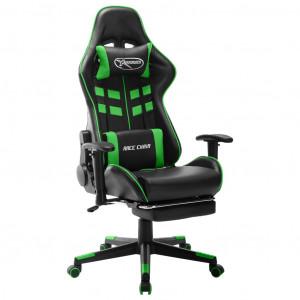 Scaun jocuri cu suport picioare, negru/verde, piele artificială