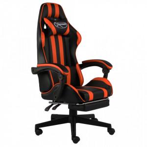 Scaun racing suport picioare, negru/portocaliu, piele eco