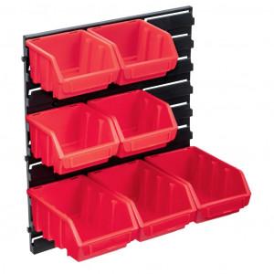 Set cutii de depozitare 8 piese cu panou de perete, roșu&negru