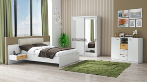 Set Dormitor Atena, Alb, Dulap 150 cm, Pat 160x200 cm, 2 noptiere, comoda