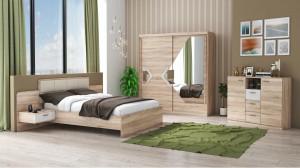 Set Dormitor Domino, Sonoma, Dulap 200 cm, Pat 160x200 cm, 2 noptiere, comoda