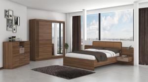 Set Dormitor Effect, Nuc, Dulap 200 cm, Pat 160x200 cm, 2 noptiere, comoda