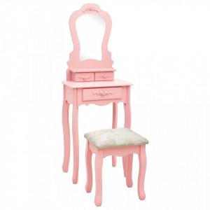 Set masă de toaletă cu taburet roz 50x59x136 cm lemn paulownia