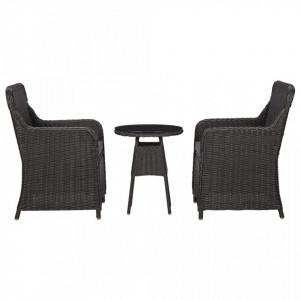 Set mobilier bistro de grădină cu perne 3 piese negru poliratan