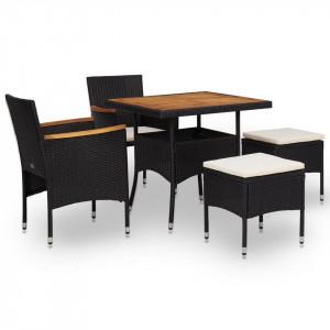 Set mobilier de exterior 5 piese, negru, poliratan, lemn acacia