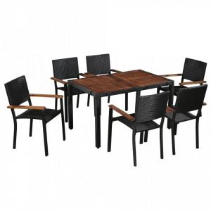 Set mobilier de exterior 7 piese negru, poliratan, lemn acacia