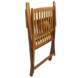 Set mobilier de exterior pliabil, 5 piese, lemn masiv de acacia