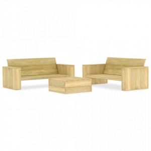 Set mobilier de grădină, 3 piese, lemn de pin tratat