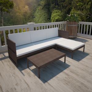 Set mobilier de grădină cu perne, 3 piese, maro, poliratan