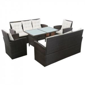 Set mobilier de grădină cu perne, 5 piese, maro, poliratan