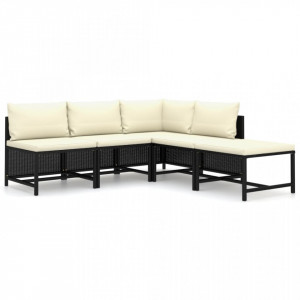 Set mobilier grădină cu perne, 5 piese, negru, poliratan
