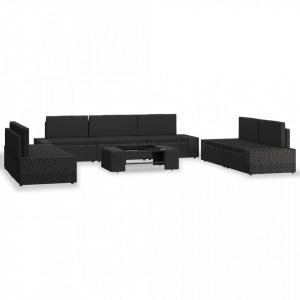 Set mobilier grădină din poliratan, 8 piese, negru