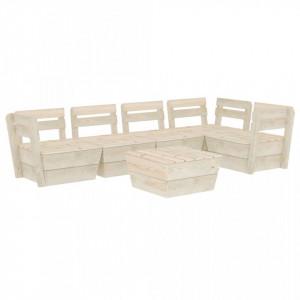 Set mobilier palet pentru grădină 6 piese lemn de molid tratat