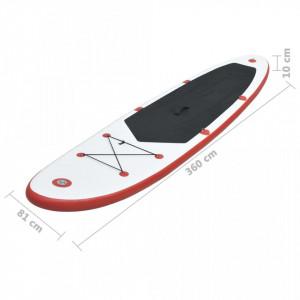 Set placă stand up paddle SUP surf gonflabilă, roșu și alb