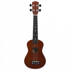 """Set ukulele soprano, cu husă, pentru copii, lemn închis, 23"""""""
