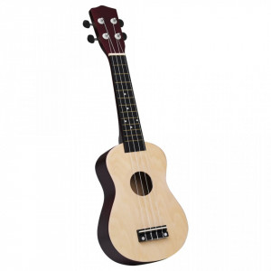 """Set ukulele Soprano pentru copii, cu husă, lemn deschis, 23"""""""