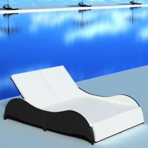 Șezlong de plajă dublu cu pernă, negru, poliratan