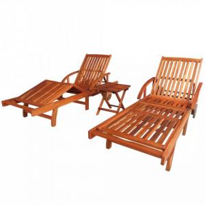 Șezlonguri cu masă, 2 buc., lemn masiv de acacia