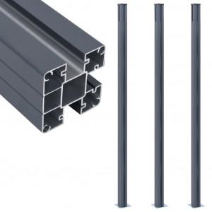 Stâlpi de gard, 3 buc., gri închis, 185 cm, aluminiu