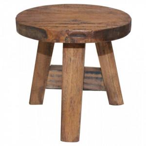 Taburet, lemn masiv reciclat