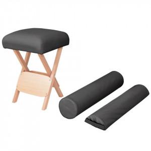 Taburet pliabil de masaj cu șezut gros de 12 cm & 2 perne negru