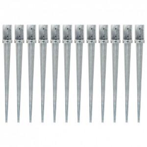 Țăruși de sol, 12 buc., argintiu, 8x8x91 cm, oțel galvanizat
