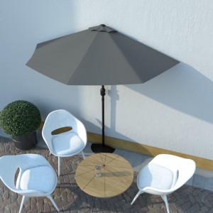 Umbrelă de soare de balcon, tijă aluminiu, antracit, 270x135 cm