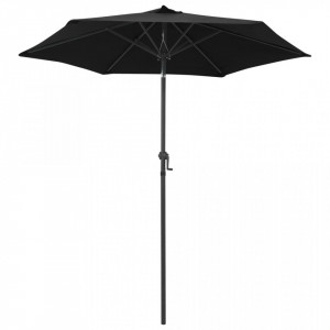 Umbrelă de soare, negru, 200 x 211 cm, aluminiu