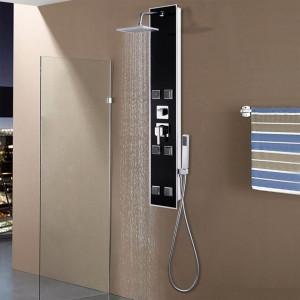 Unitate panou de duș, sticlă, 18 x 42,1 x 120 cm, negru