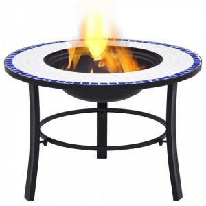 Vatră de foc cu mozaic, albastru & alb, 68 cm, ceramică
