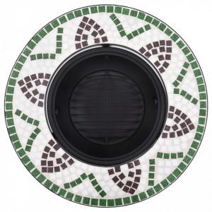 Vatră de foc cu mozaic, verde, 68 cm, ceramică