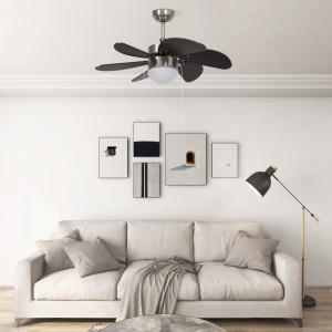 Ventilator de tavan cu iluminare, maro închis, 76 cm
