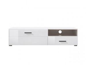 VUSHER 002-1 TV STAND 1D1SL LEFT-SIDED WHITE/WHITE HIGH GLOSS