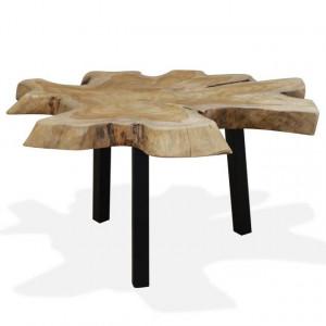 Măsuță de cafea din lemn de tec natural, 80 x 70 x 38 cm