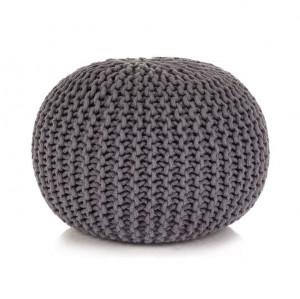 Puf tricotat manual, bumbac, 50 x 35 cm, gri