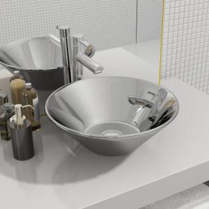 Chiuvetă de baie, argintiu, 42 x 14 cm, ceramică
