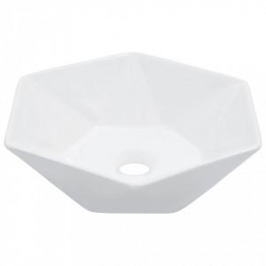Chiuvetă de baie, alb, 41 x 36,5 x 12 cm, ceramică