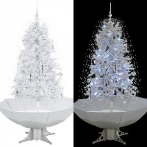 Brad de Crăciun cu ninsoare și bază umbrelă, alb, 170 cm