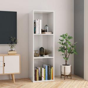 Bibliotecă/Comodă TV, alb lucios, 36 x 30 x 114 cm, PAL