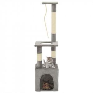 Ansamblu pentru pisici cu stâlpi din funie de sisal, 109 cm gri