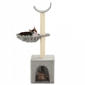 Ansamblu pisici, stâlpi funie de sisal, 105 cm, gri