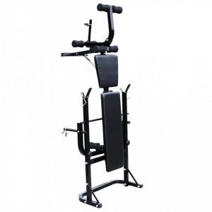 Bancă de greutăți cu raft, set de gantere și haltere, 60,5kg